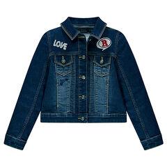 Junior - Veste en jeans avec broderies et badges
