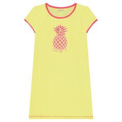 Effen katoenen nachthemd met ananasprint met pailletjes