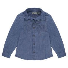 Chemise manches longues en coton avec poches