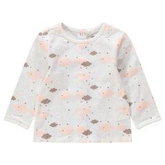 """T-shirt met lange mouwen met wolkenprint """"all-over"""""""