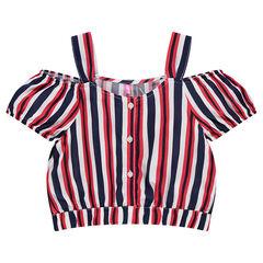 Junior - Crop-top met streepjes en schouders met ajour