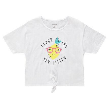 Junior - Tee-shirt manches courtes avec citron printé et liens à nouer