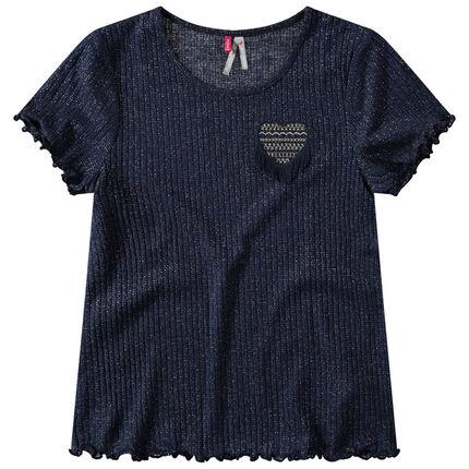 Junior - T-shirt manches longues mélangé de fil doré avec coeur brodé
