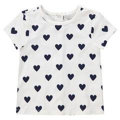 T-shirt manches courtes en coton à coeurs printés all-over