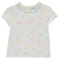 Tee-shirt manches courtes avec poissons imprimés all-over