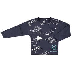 T-shirt met lange mouwen uit jerseystof met boodschap en Smiley-prints