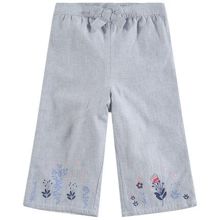 Pantalon large avec motifs floraux brodés