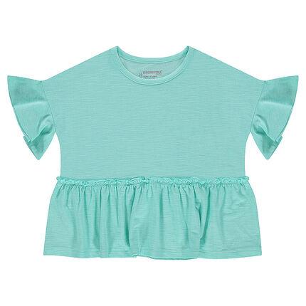 T-shirt met korte mouwen van slub jerseystof en rechte snit met volant