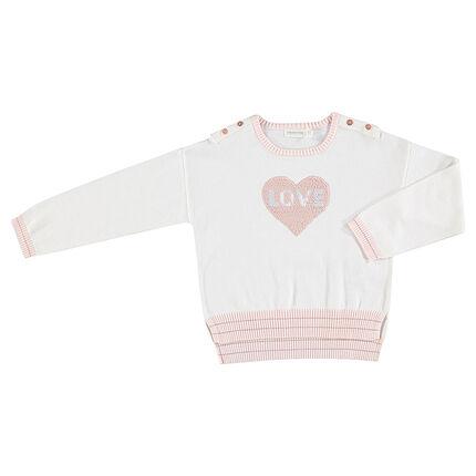 Pull en tricot avec coeur en sequis magiques