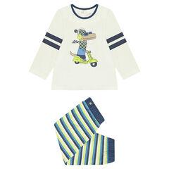 Pyjama en jersey avec print dinosaure et pantalon rayé