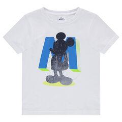 Effen T-shirt van jerseystof met print van Mickey