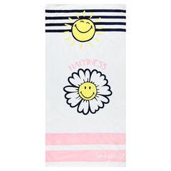Gestreept strandlaken met zon en bloem ©Smiley