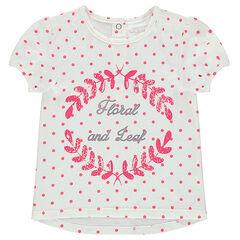 T-shirt met korte mouwen, stippenprint en print met motief op de voorzijde