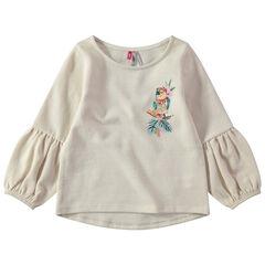 Sweater van molton met ballonmouwen en borduurwerk met bloemen