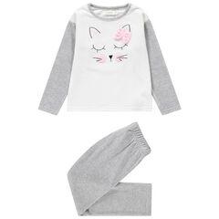 Pyjama van velours met geborduurde kat en strik