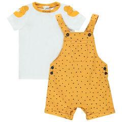 Ensemble bébé garçon avec t-shirt ludique et salopette jaune à pois , Orchestra
