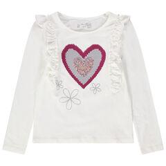 T-shirt met korte mouwen met volants en hart van magische lovertjes