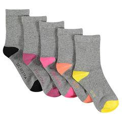 Set van 5 paar sokken in effen kleur