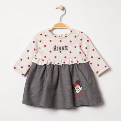Robe manches longues effet 2 en 1 à pois et prints Minnie Disney