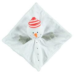 Doudou plat en velours forme bonhomme de neige