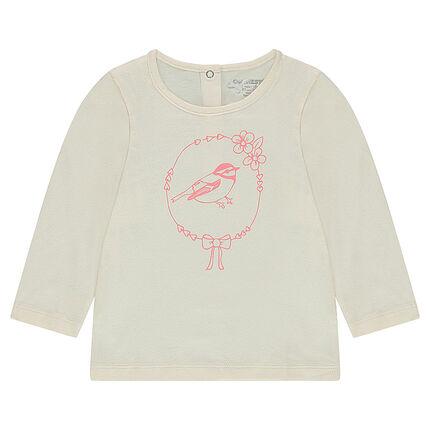 T-shirt met lange mouwen uit jerseystof met vogelprint