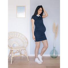 Robe de grossesse bleu marine à col rayé et coeur brodé , Prémaman