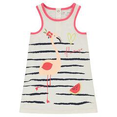 Jurk zonder mouwen van slub jerseystof met strepen en print met roze flamingo's