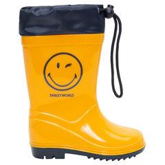 Regenlaarzen met waterdichte sluiting en Smileyprint van maat 28 tot 32