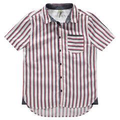 Junior - Chemise manches courtes à rayures verticales et poche