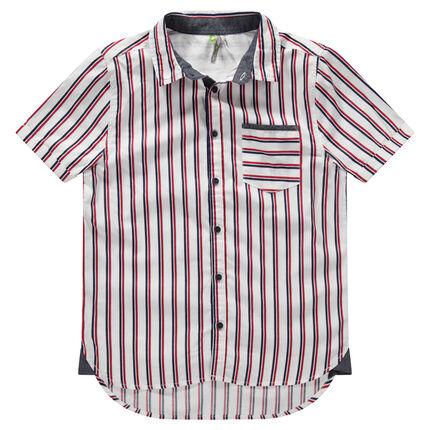 Junior - Hemd met korte mouwen, verticale streepjes en zakje