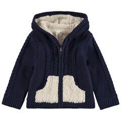 Gilet à capuche en tricot doublé sherpa avec détails brodés