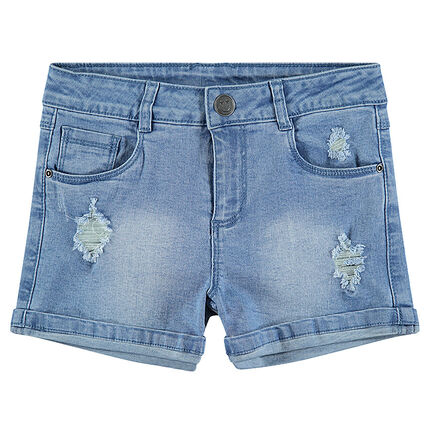 Junior - Jeansshort met used effect en blinkende ©Smiley-badge