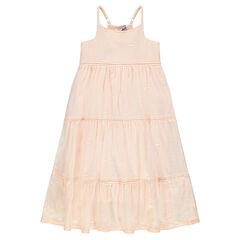 Lange jurk met Engels borduurwerk en verstelbare bandjes