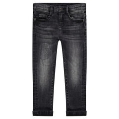 Jeans effet used et crinkle coupe slim