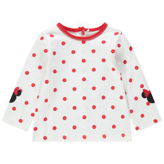 T-shirt manches longues à pois all-over et prints Minnie