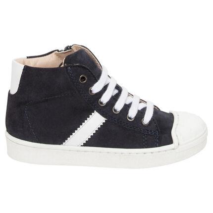 Hoge sneakers uit leder met suède-effect en met contrasterende band