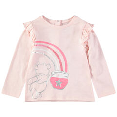 T-shirt met lange mouwen met volants met print van Winnie The Pooh en met toetsen met pailletten