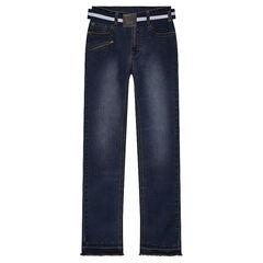 Junior - Slim-fit jeans met used effect en afneembare riem