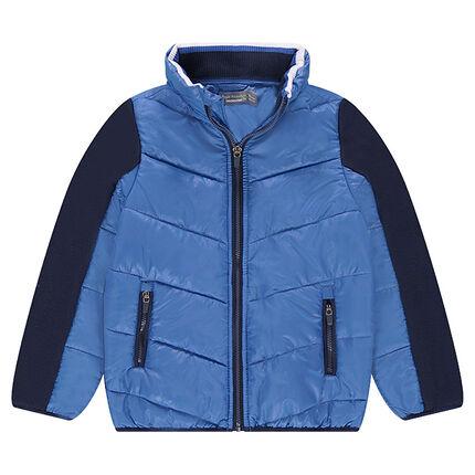 Junior - Veste bi-matière avec poches zippées et capuche intégrée