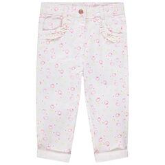 Pantalon imprimé all-over à poches volantées