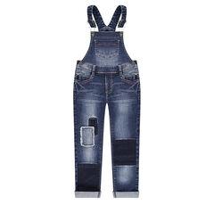 Salopette en jeans effet used avec patchs sur les jambes