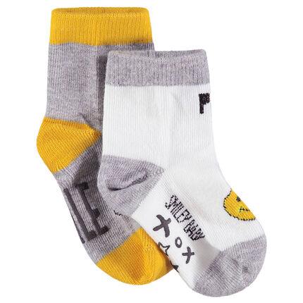 Lot de 2 paires de chaussettes assorties avec motif ©Smiley