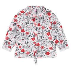 Hemd met lange mouwen en contrasterende bloemen