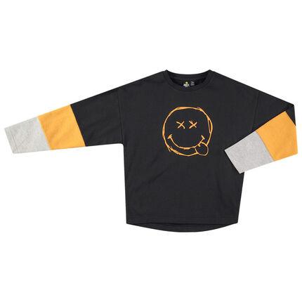 Junior - T-shirt met lange mouwen in drie kleuren met ©Smiley print