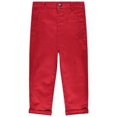 Rode, effen broek met zakje en koalamotief