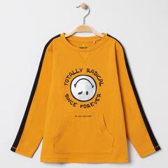 T-shirt manches longues à bandes contrastées print Smiley