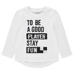T-shirt met lange mouwen uit jerseystof met boodschap en magische lovertjes