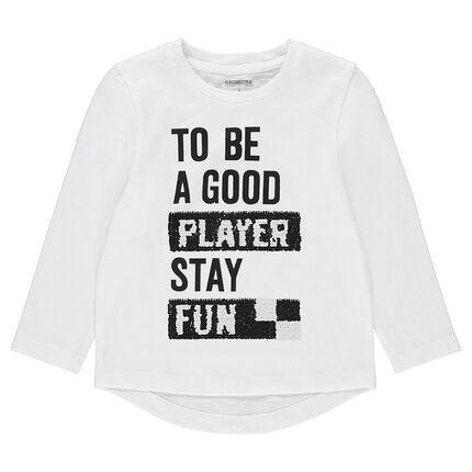 Tee-shirt manches longues en jersey avec message printé + sequins magiques