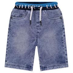 Bermuda en jeans effet used avec taille élastiquée