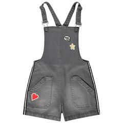 Junior - Tuinjurk van jeans met used effect, badges en zilveren stroken